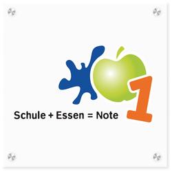 Logo-Schild Schule + Essen = Note 1-Zertifizierung, Quelle: DGE